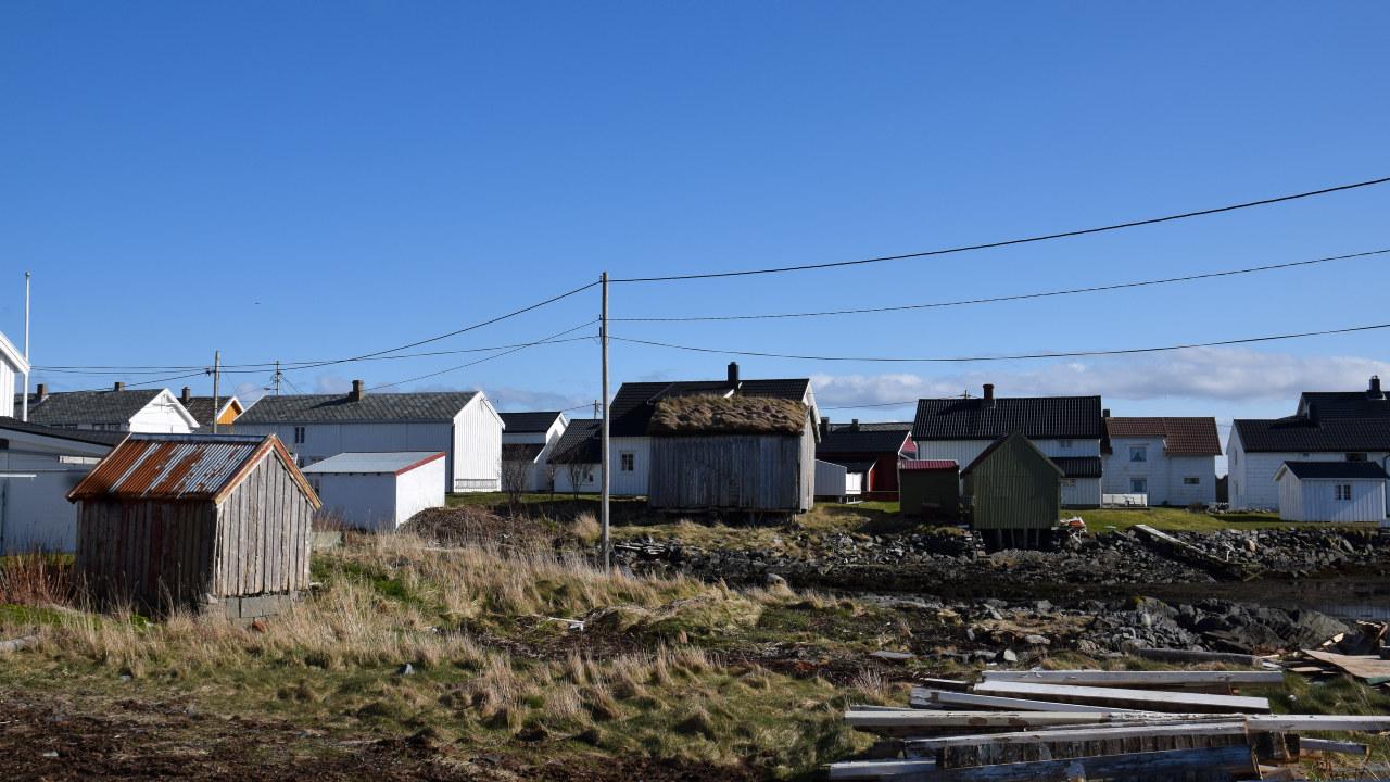 Hus på et fiskevær og strømnett og master. Foto