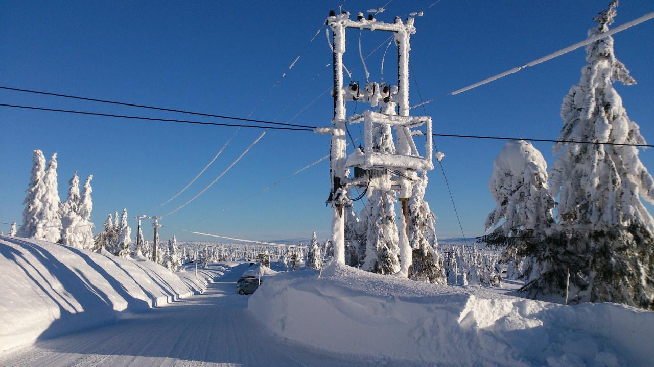 nettkabler dekket av snø. foto
