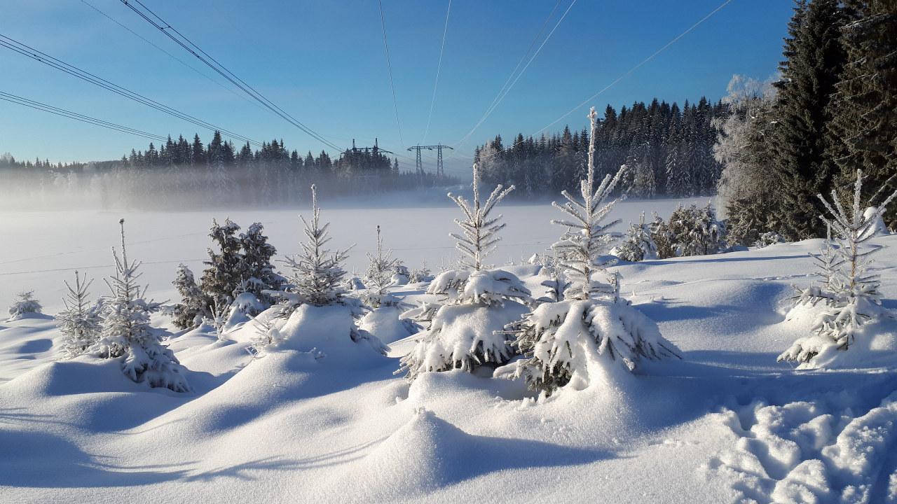 Strømnett i snø. foto