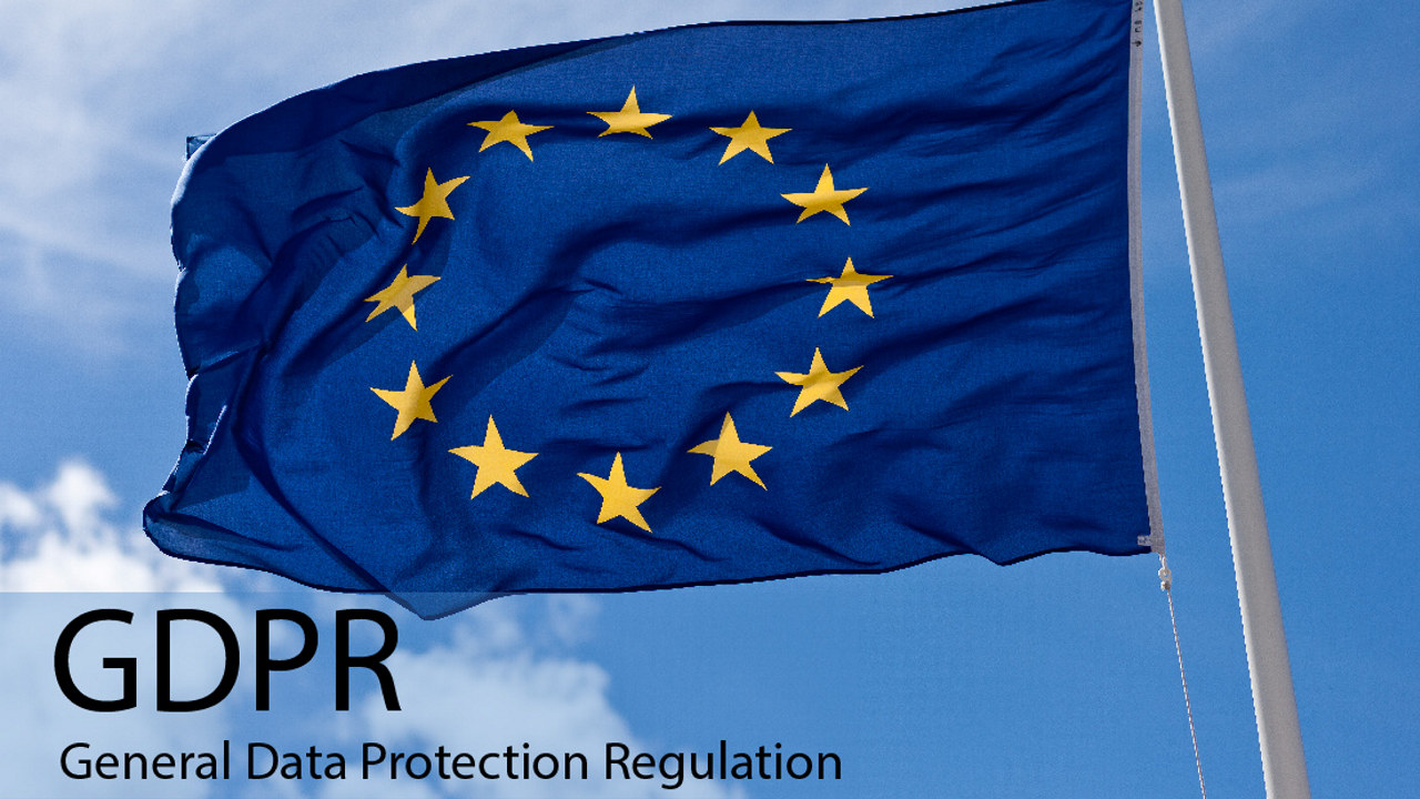 EU-flagg med GDPR-tekst. foto