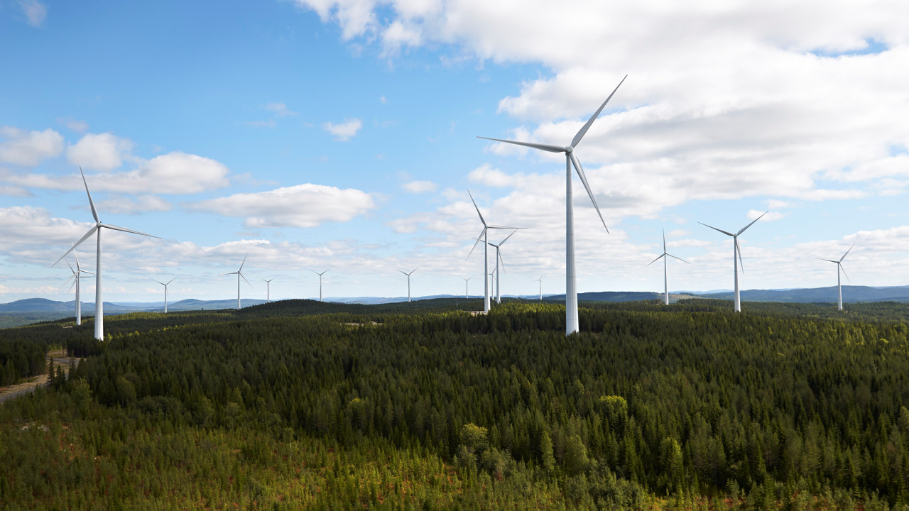 Vindmøller i skog og blå himmel. foto