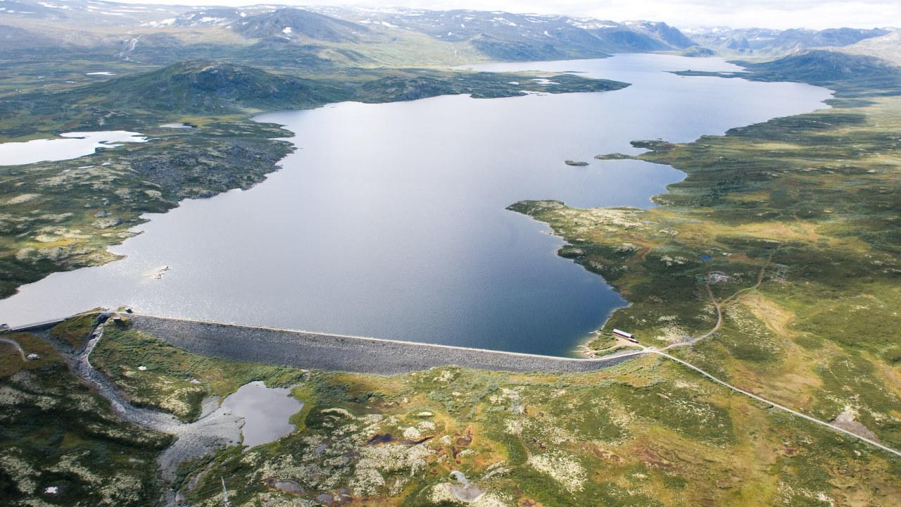 Vannmagasin sett fra luften. Foto