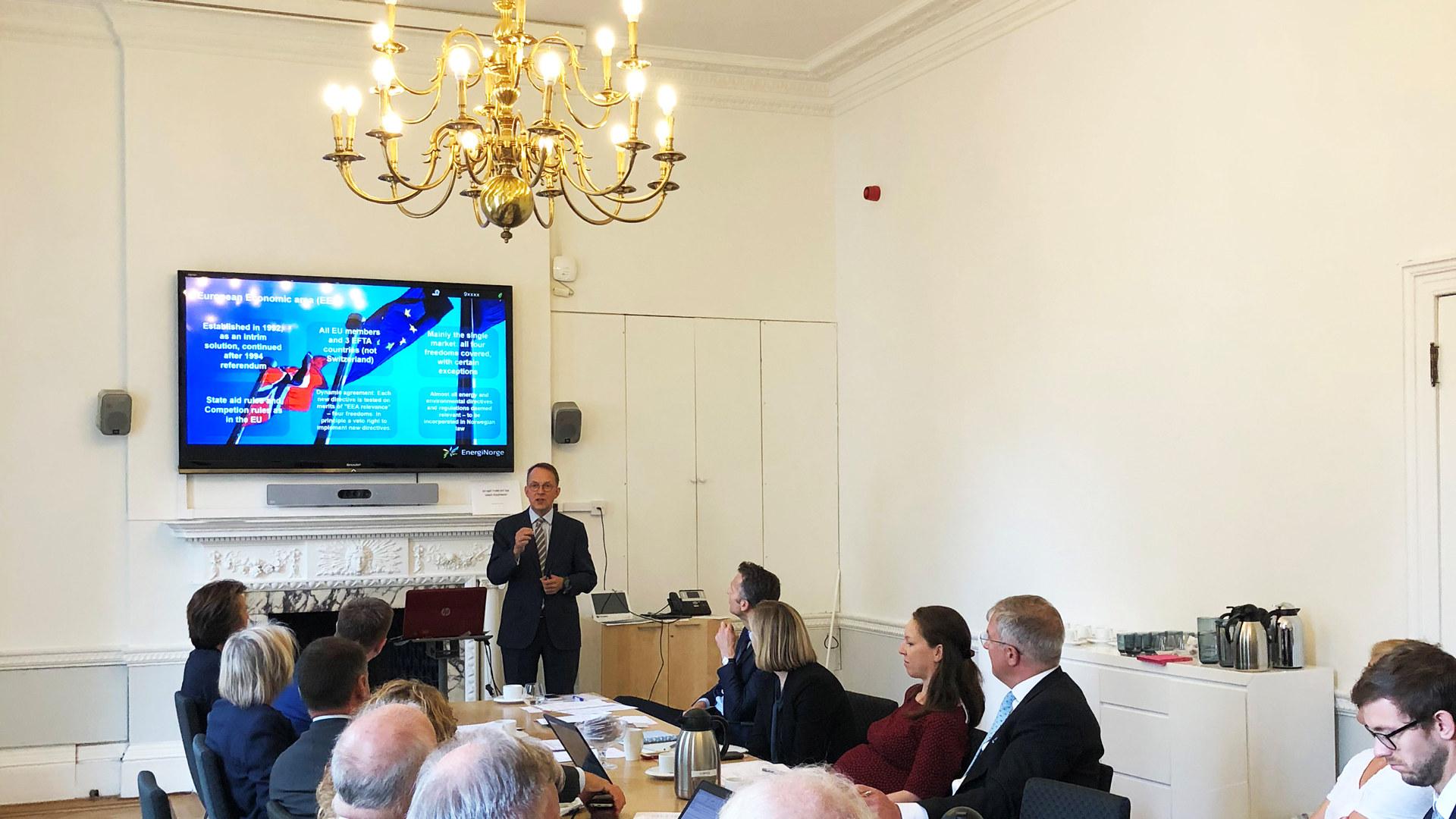 Energi Norge arrangerte 10. september 2018 et møte ved den norske ambassaden i London sammen med Energy UK og Statnett. Temaet for møtet var fremtidig energisamarbeid etter Brexit.