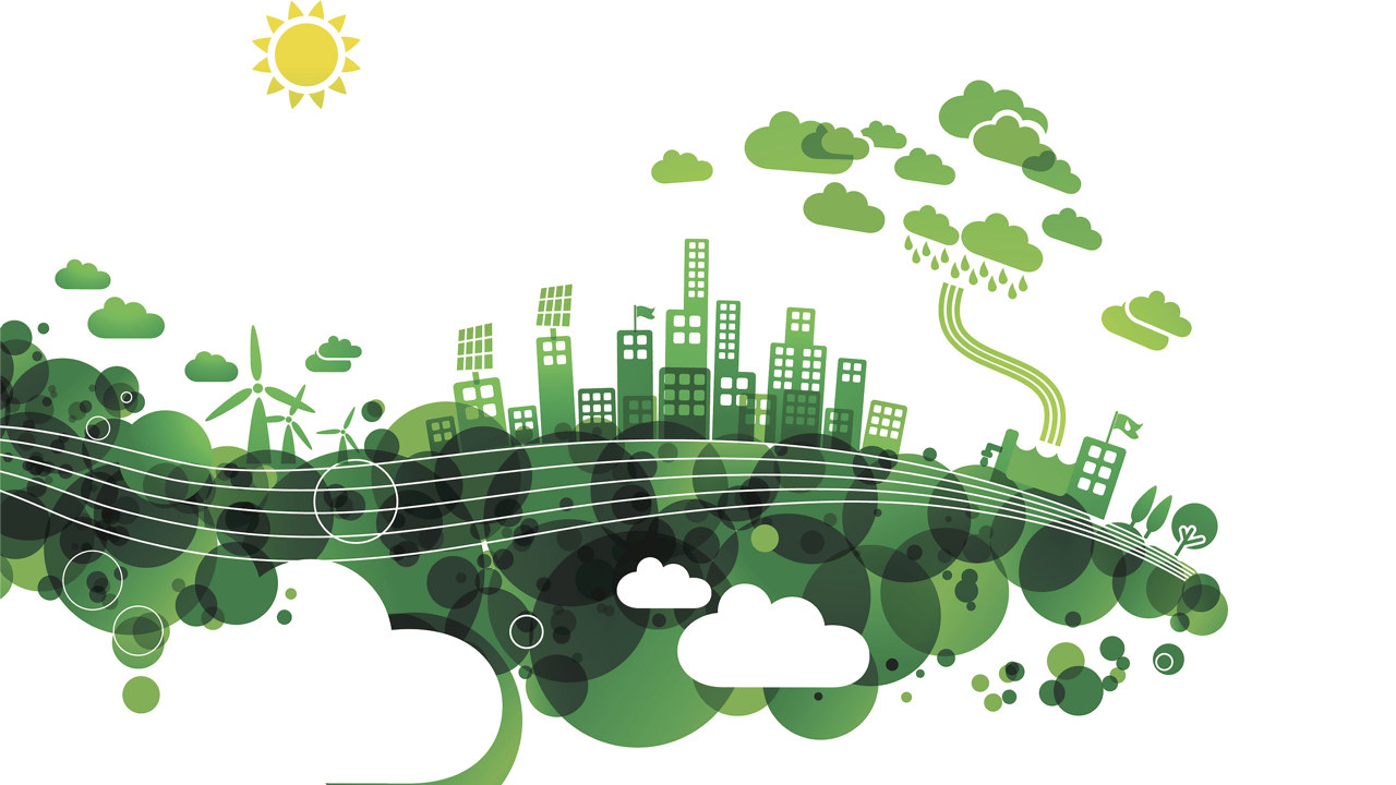 Grønn by med vindkraft, energi og sol. illustrasjon