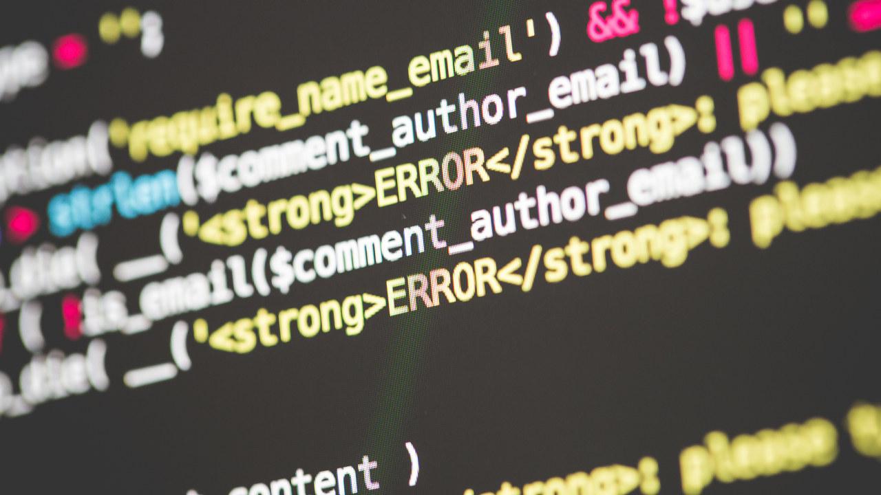 Feilmedling på datakoder. Foto