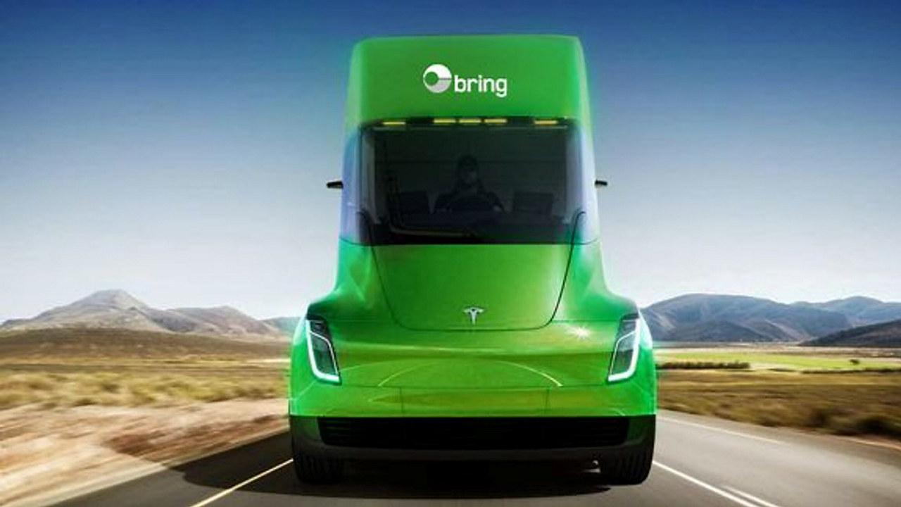 Grønn lastebil på landevei. Illustrasjon