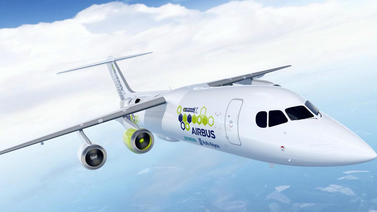 Illustrasjon av elektrisk fly i luften