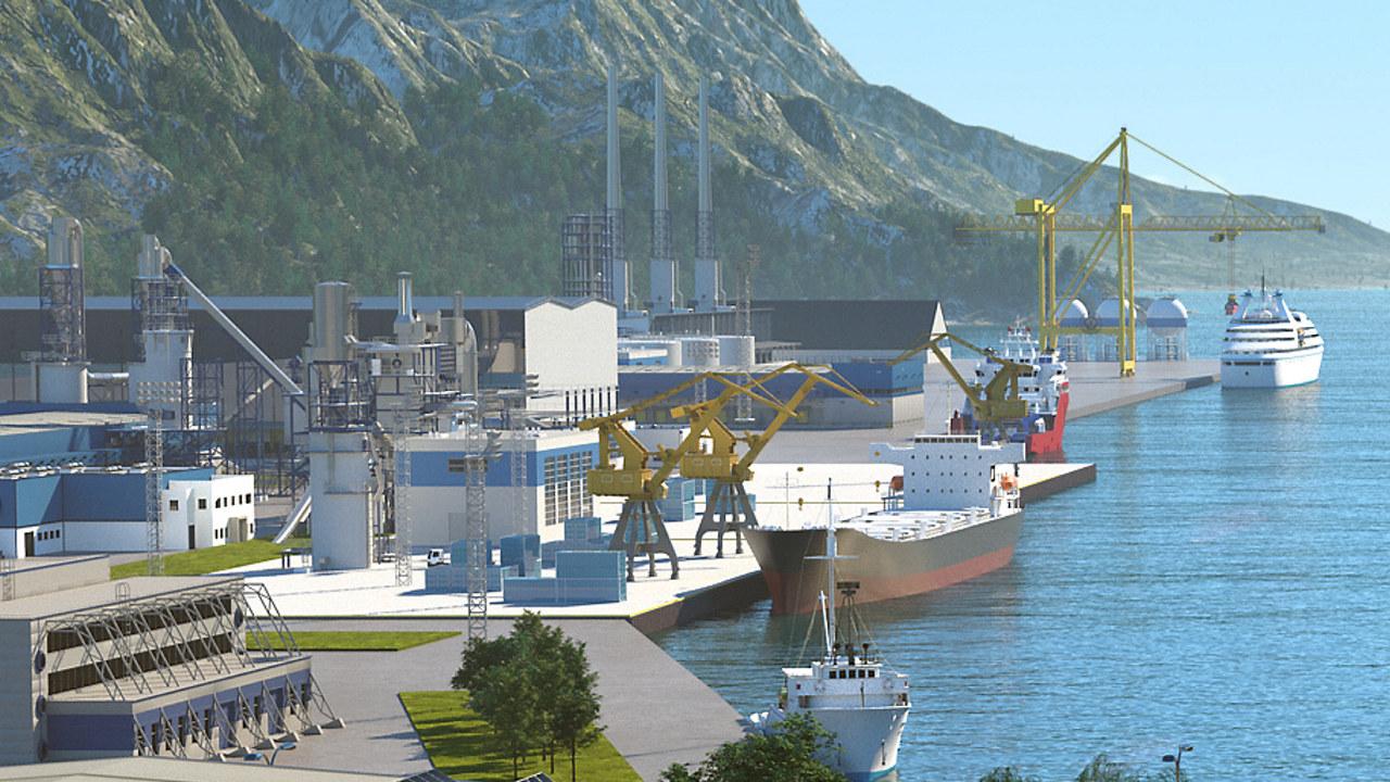 Illustrasjon av ferger, båter og havn.