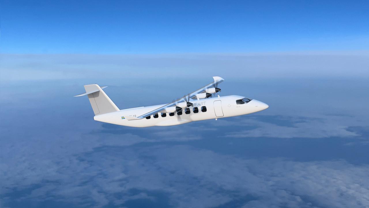 Elektrisk fly i luften. Illustrasjon