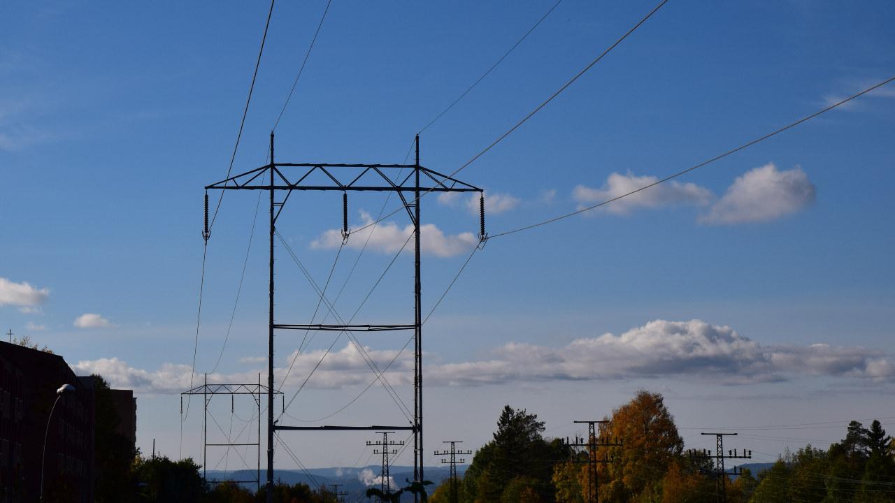 Kraftmast for en linje tilhørende sentralnettet på Alnabru i Oslo
