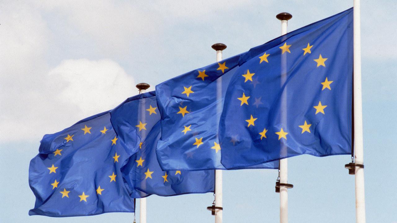 EU flagg på rekke og rad
