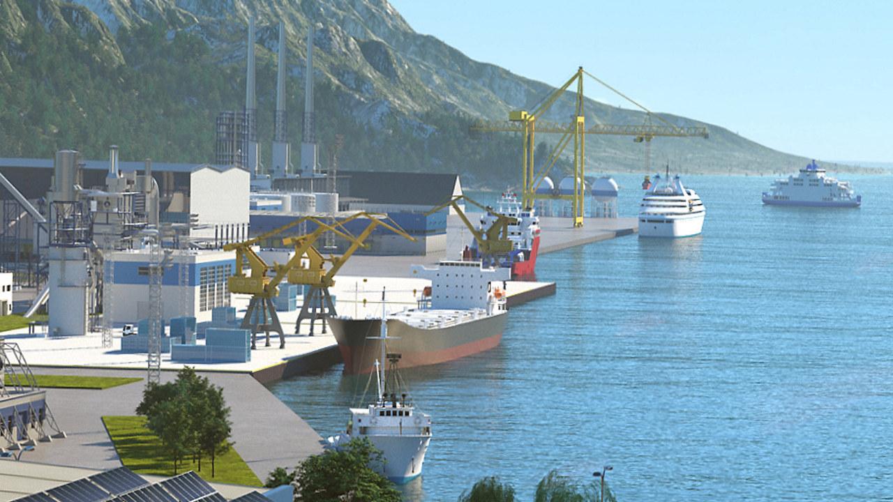 Illustrasjon av ferger, båter og havn