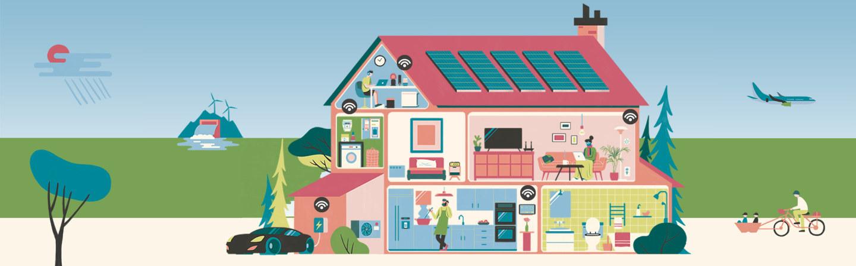 Et bolighus med solceller på taket. Illustrasjon