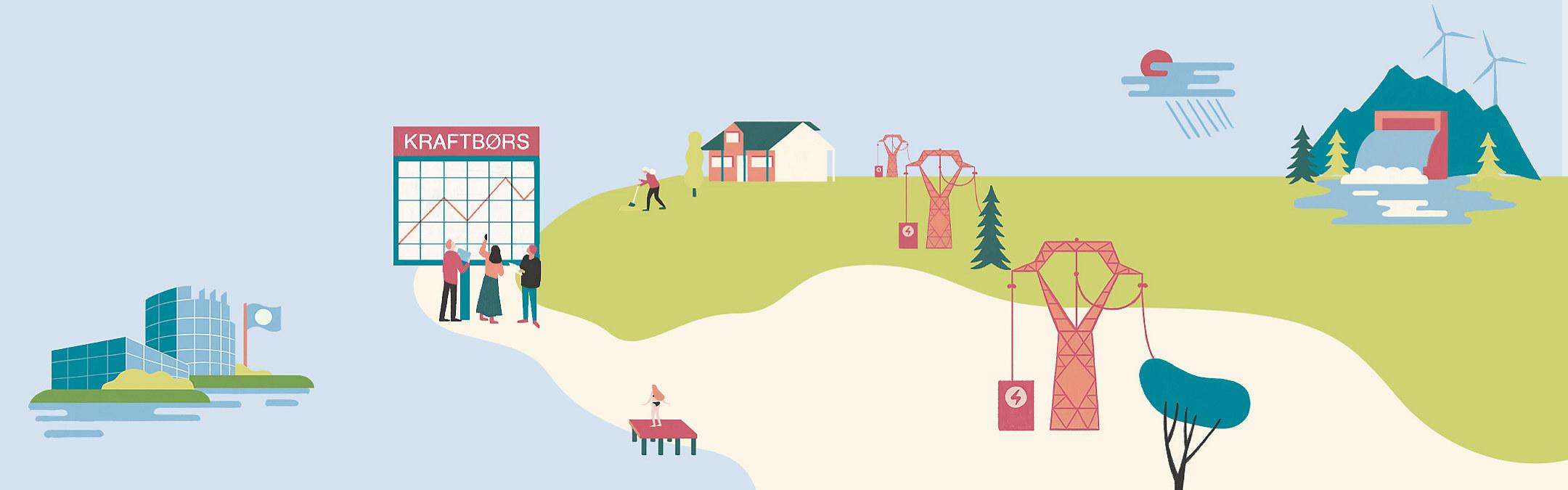 Illustrasjoner av fornybarnæringen og samfunn