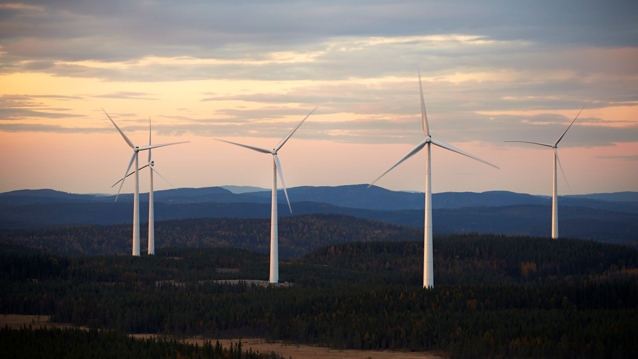 Björkhöjden vindpark i Sverige har 270 MW innstallert