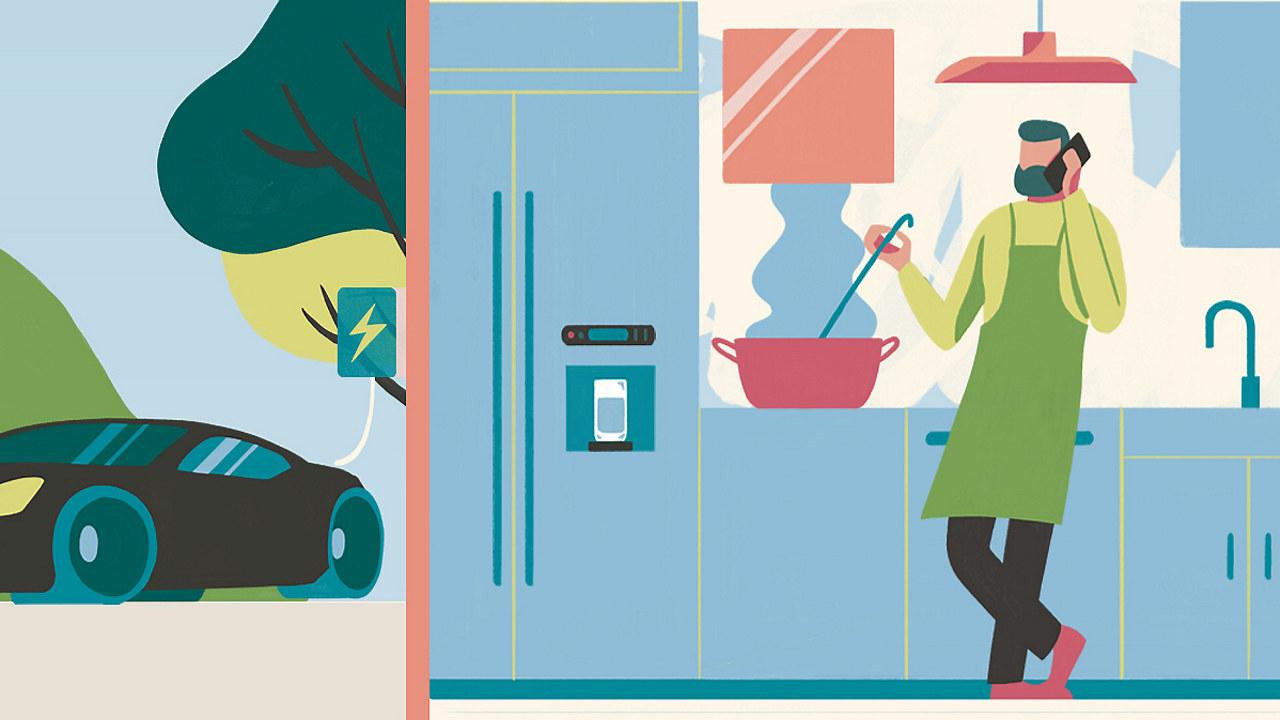 En elbil lader og en mann snakker i mobil og lager mat på kjøkkenet. Illustrasjon