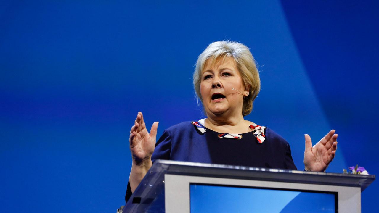 Erna Solberg på talerstolen