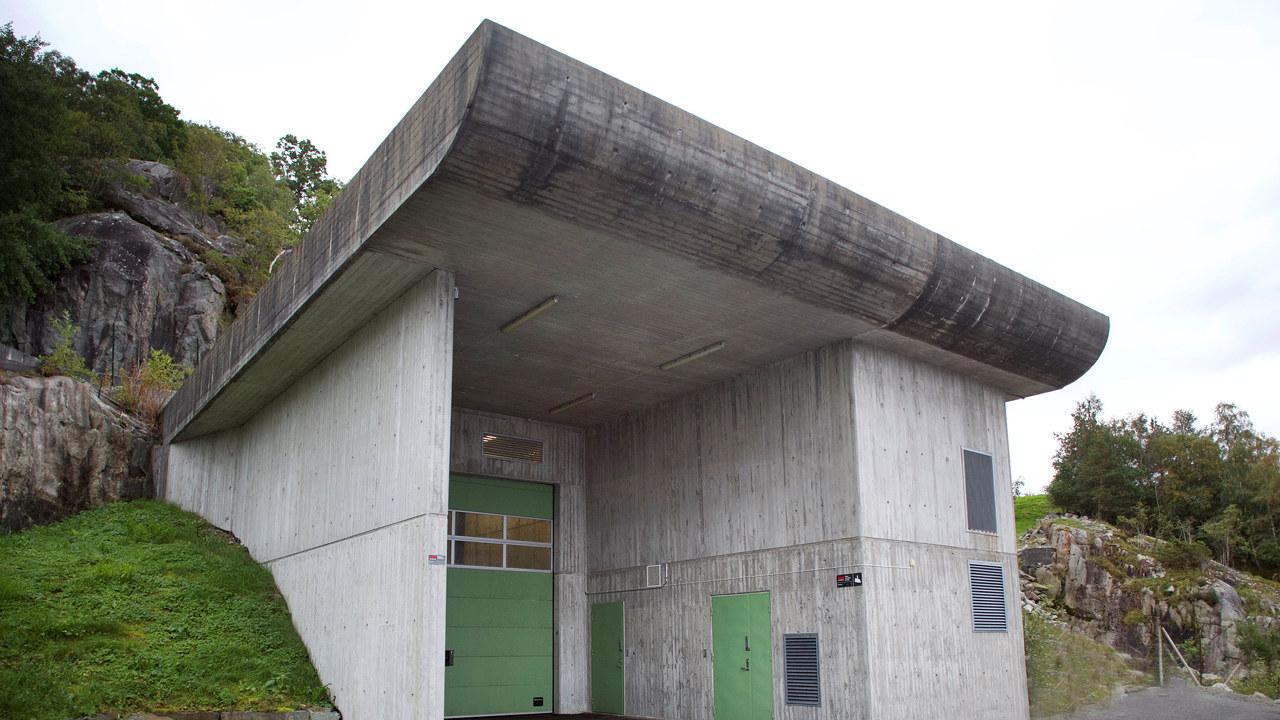 Foto: Inngangspartiet til Jøssang kraftverk