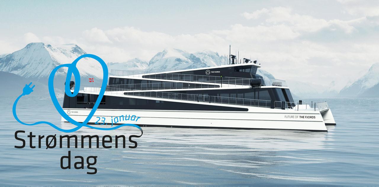 Illustrasjon: Passasjerferge på vannet med snøkledde fjell i bakgrunnen