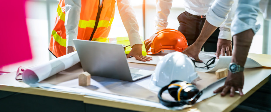 panoramic banner of Construction and structure of Creative team Engineer or architect meeting for project working with partner and tools on model building and blueprint in working site