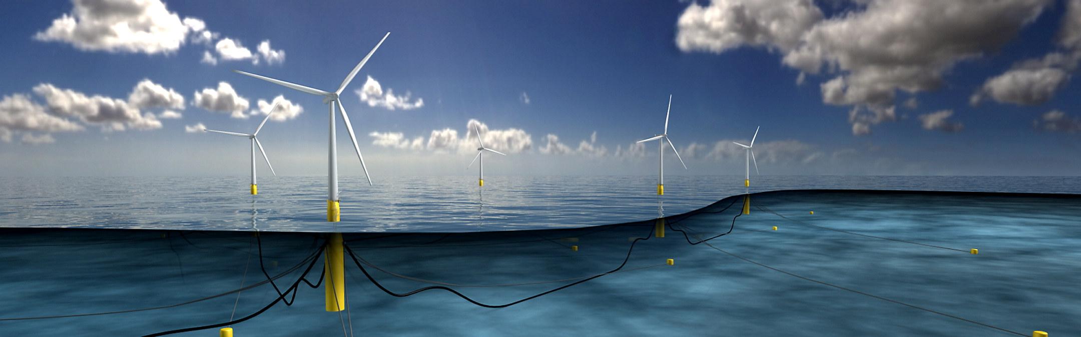 Illustrasjon av fem havvindmøller på sjøen