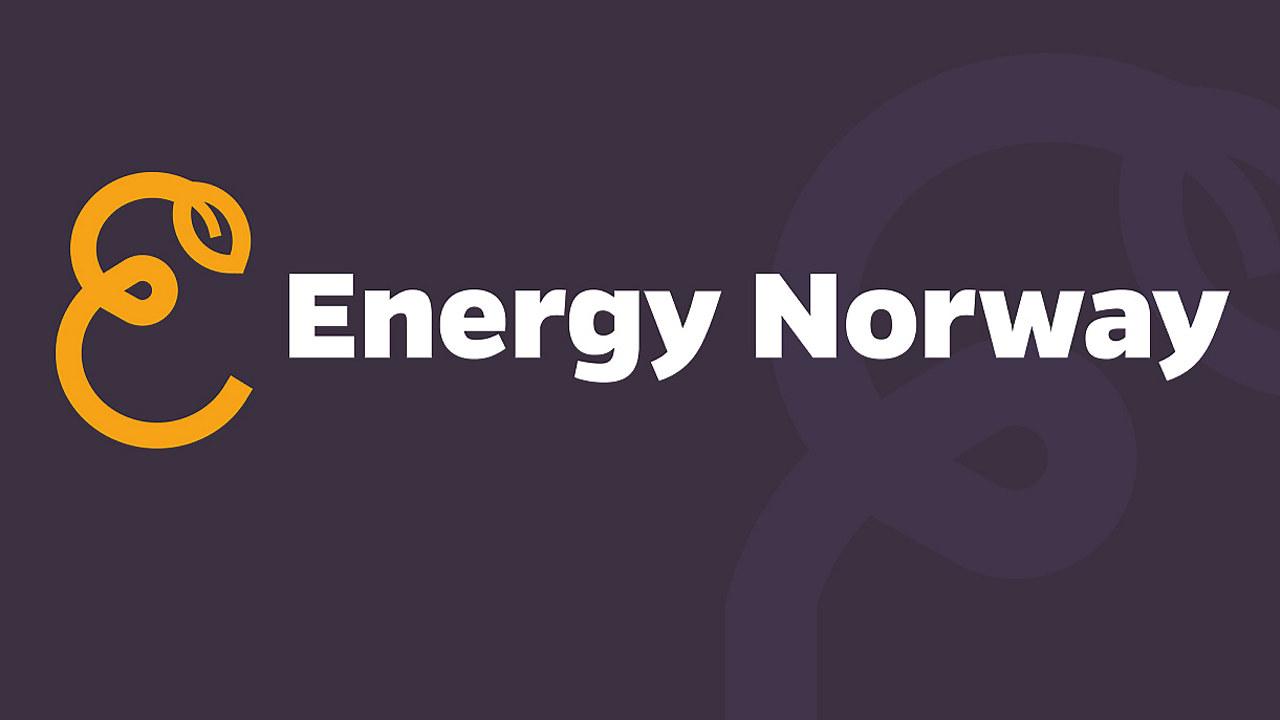 Grafikk: Teksten Energy Norway på mørk lilla bakgrunn