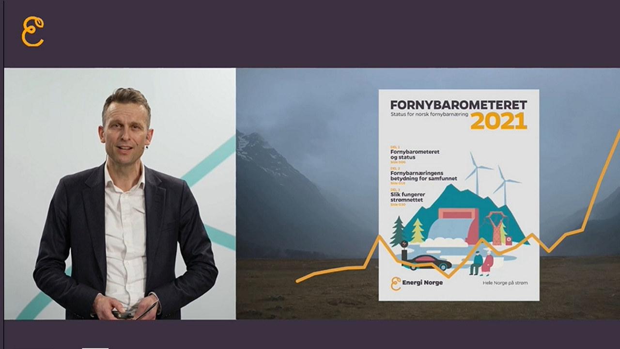 Knut Kroepelien presenterer rapporten Fornybarometeret 2021.