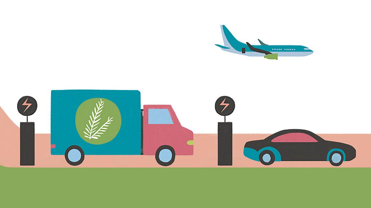 En lastebil og en personbil lader med strøm og et elfly flyr på himmelen.Illustrasjon.