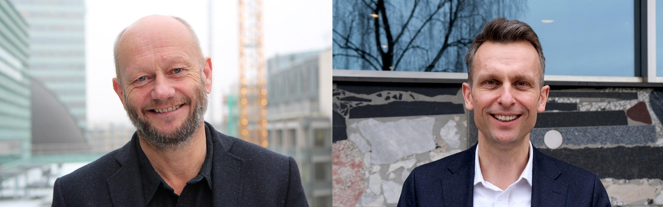 Knut Kroepelien i Energi Norge og Stein Lier-Hansen i Norsk Industri. Foto